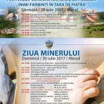 """Între 29 și 30 iulie 2017, Abrudul este gazda Festivalului concurs național de folclor """"Inimi fierbinți în Țara de Piatră"""" și a """"Zilei Minerului"""""""